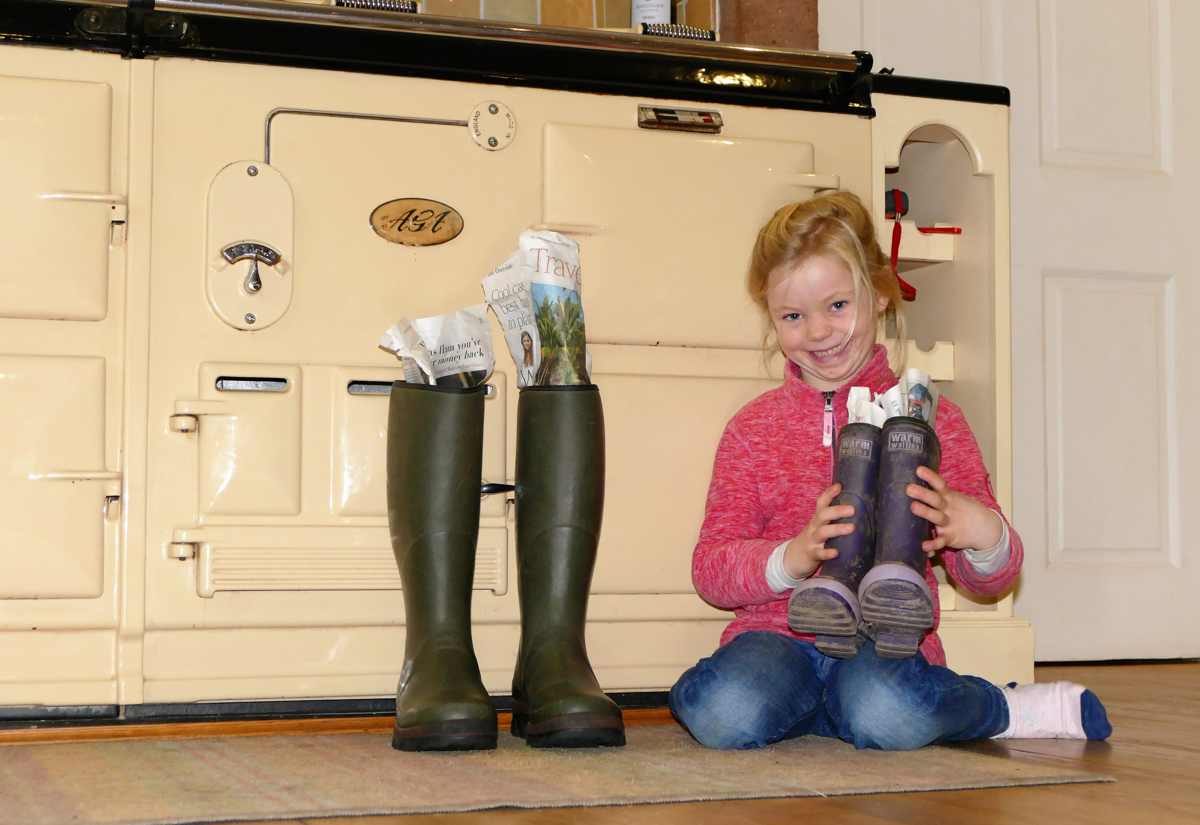 Drying out wellies