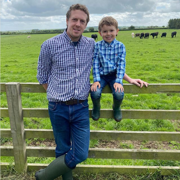Dad and son in greenwellies